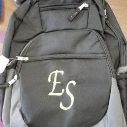 ES initials backpack